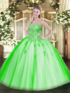 Tulle Sleeveless Floor Length Quinceanera Dress and Appliques