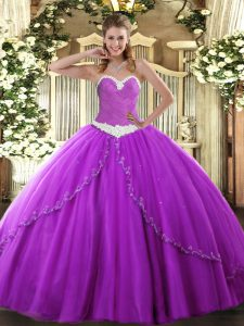 Mini Length Purple Quinceanera Dresses Sweetheart Sleeveless Brush Train Lace Up