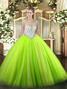 Glorious Sleeveless Tulle Zipper Vestidos de Quinceanera for Military Ball and Sweet 16 and Quinceanera