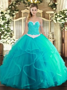 Lovely Turquoise Lace Up Sweet 16 Quinceanera Dress Appliques and Ruffles Sleeveless Floor Length