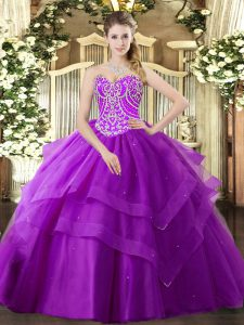 Purple Sleeveless Floor Length Beading and Ruffled Layers Lace Up Sweet 16 Dress