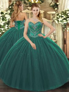 Sweet Dark Green Sleeveless Beading Floor Length 15th Birthday Dress