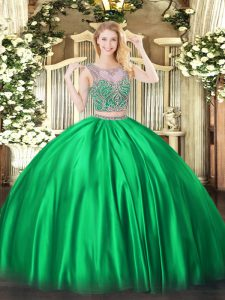 Great Scoop Sleeveless Lace Up Quinceanera Dress Green Satin
