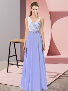 Floor Length Lavender Prom Gown Chiffon Sleeveless Beading