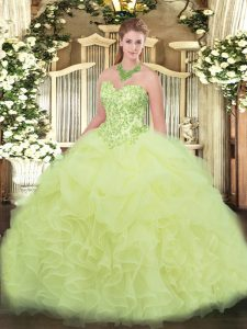 Sweet Yellow Green Lace Up Sweet 16 Dress Appliques and Ruffles Sleeveless Floor Length