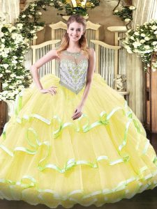 Fantastic Floor Length Zipper Quinceanera Gown Yellow Green and Light Yellow for Military Ball and Sweet 16 and Quinceanera with Beading and Ruffled Layers