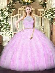 Glamorous Lilac Tulle Zipper Scoop Sleeveless Floor Length Sweet 16 Quinceanera Dress Lace and Ruffles