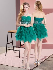 Comfortable Mini Length Lace Up Green for Prom and Party with Beading and Ruffles
