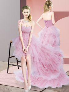 Superior Baby Pink Tulle Lace Up Sweetheart Sleeveless High Low Evening Dress Beading
