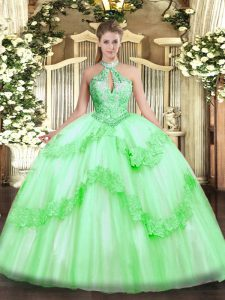 Graceful Apple Green Ball Gowns Halter Top Sleeveless Tulle Floor Length Lace Up Appliques and Sequins 15th Birthday Dress