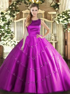 Fuchsia Sleeveless Floor Length Appliques Lace Up Quinceanera Gown