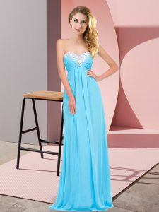 Cute Aqua Blue Sleeveless Ruching Floor Length Prom Dress