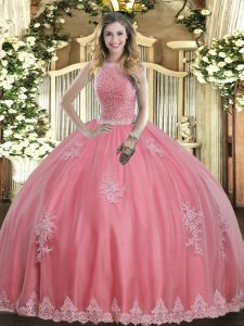 Fashionable Baby Pink Sleeveless Floor Length Beading and Appliques Lace Up Quinceanera Dresses