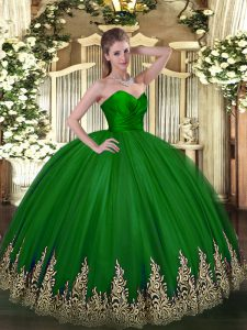 Green Sweetheart Neckline Appliques Quinceanera Gowns Sleeveless Zipper