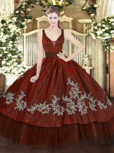 Sleeveless Floor Length Beading and Embroidery Zipper Quinceanera Gown with Wine Red