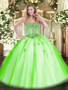 On Sale Tulle Sleeveless Floor Length Quinceanera Gown and Beading and Appliques