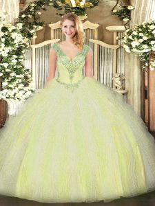 Fitting Tulle Sleeveless Floor Length Quinceanera Gown and Beading and Ruffles