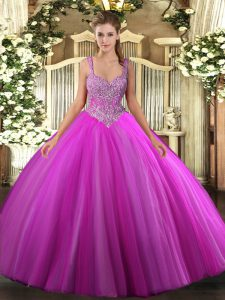 Fuchsia Sleeveless Beading Floor Length 15th Birthday Dress