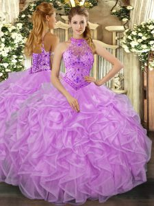 Luxury Floor Length Lace Up Quinceanera Dresses Lavender for Sweet 16 and Quinceanera with Beading and Ruffles