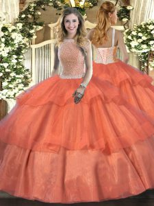 Beauteous Sleeveless Beading and Ruffled Layers Lace Up Quinceanera Gowns