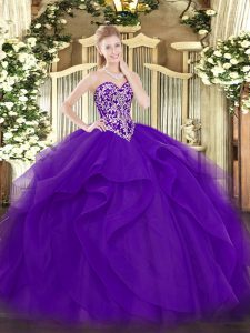 Sumptuous Purple Sleeveless Tulle Lace Up Sweet 16 Quinceanera Dress for Military Ball and Sweet 16 and Quinceanera