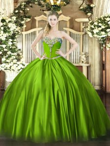 Ball Gowns Satin Sweetheart Sleeveless Beading Floor Length Lace Up 15 Quinceanera Dress