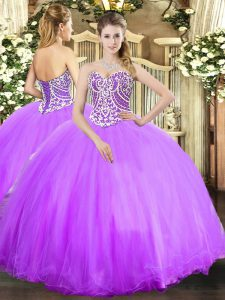Attractive Lavender Ball Gowns Beading Sweet 16 Dresses Lace Up Tulle Sleeveless Floor Length