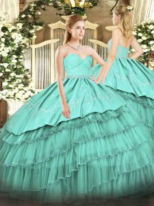 Turquoise Ball Gowns Beading and Lace and Embroidery and Ruffled Layers Quinceanera Gown Zipper Organza and Taffeta Sleeveless Floor Length