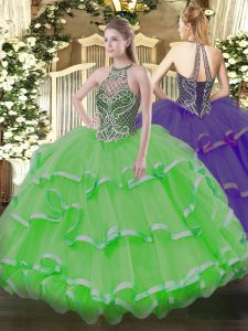 Halter Top Neckline Beading and Ruffles Quinceanera Dresses Sleeveless Lace Up