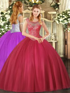 Fantastic Scoop Sleeveless Tulle Quince Ball Gowns Beading Lace Up