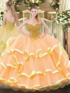 Cute Organza Sleeveless Floor Length Quinceanera Gown and Beading and Ruffled Layers