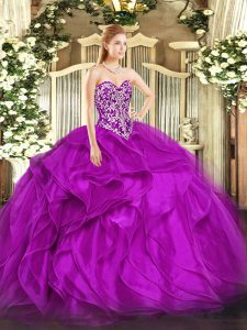 Shining Organza Sleeveless Floor Length Sweet 16 Quinceanera Dress and Beading and Ruffles