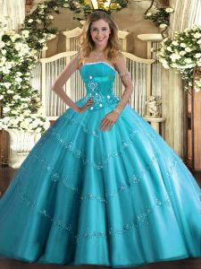 Sophisticated Aqua Blue Tulle Lace Up Ball Gown Prom Dress Sleeveless Floor Length Beading and Appliques and Ruffled Layers