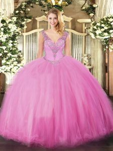 Floor Length Rose Pink Quinceanera Dress V-neck Sleeveless Lace Up