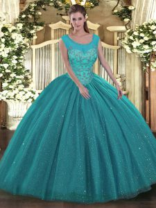 Artistic Sleeveless Tulle and Sequined Floor Length Backless Sweet 16 Quinceanera Dress in Teal with Beading