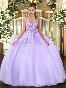 Beading Ball Gown Prom Dress Lavender Lace Up Sleeveless Floor Length