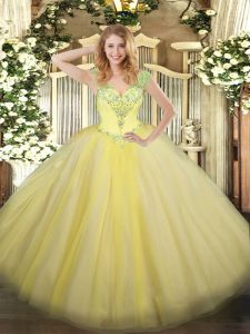 Free and Easy V-neck Sleeveless Tulle Sweet 16 Quinceanera Dress Beading Lace Up