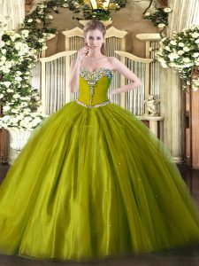 Olive Green Quinceanera Dress Military Ball and Sweet 16 and Quinceanera with Beading Sweetheart Sleeveless Lace Up