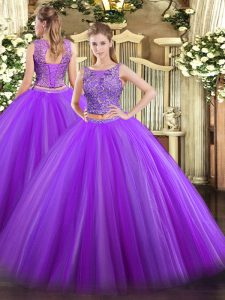 Cute Scoop Sleeveless Quince Ball Gowns Floor Length Beading Eggplant Purple Tulle