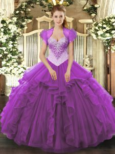Pretty Eggplant Purple Quince Ball Gowns Military Ball and Sweet 16 and Quinceanera with Beading Sweetheart Sleeveless Lace Up