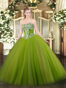 Elegant Strapless Sleeveless Sweet 16 Dresses Floor Length Beading Olive Green Tulle