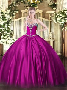 Hot Sale Fuchsia Ball Gowns Beading Quinceanera Gown Lace Up Satin Sleeveless Floor Length