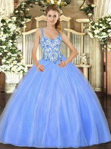 Edgy Baby Blue Sleeveless Organza Lace Up Quinceanera Dresses for Sweet 16 and Quinceanera