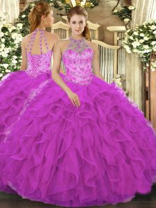 Fuchsia Lace Up Halter Top Beading and Embroidery and Ruffles Quinceanera Dresses Organza Sleeveless