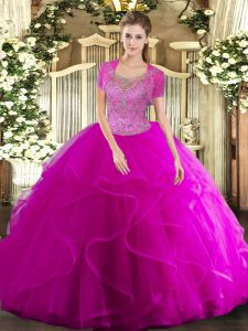 Fuchsia Clasp Handle Quinceanera Dress Beading and Ruffled Layers Sleeveless Floor Length