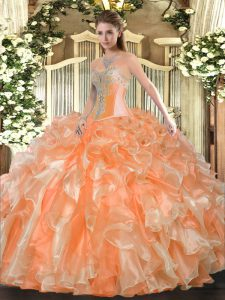 Spectacular Orange Organza Lace Up Quinceanera Gowns Sleeveless Floor Length Beading and Ruffles
