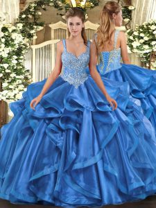 Eye-catching Ball Gowns Vestidos de Quinceanera Blue Straps Organza Sleeveless Floor Length Lace Up