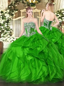 Clearance Strapless Sleeveless Organza Quinceanera Gowns Beading and Ruffles Lace Up