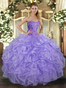 Beauteous Sleeveless Tulle Floor Length Lace Up Sweet 16 Dress in Lavender with Beading and Ruffles