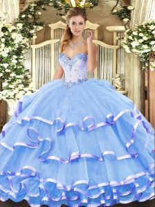 Blue Sweetheart Neckline Beading and Ruffled Layers Sweet 16 Dress Sleeveless Lace Up